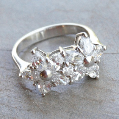 Double Cubic Zirconia Flower Ring