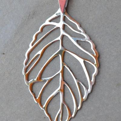 Silver Large Leaf Pendant