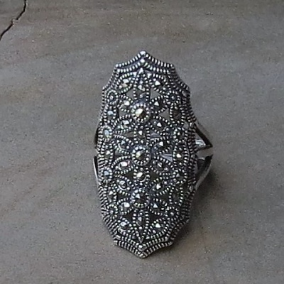 Long Elliptical Marcasite Ring