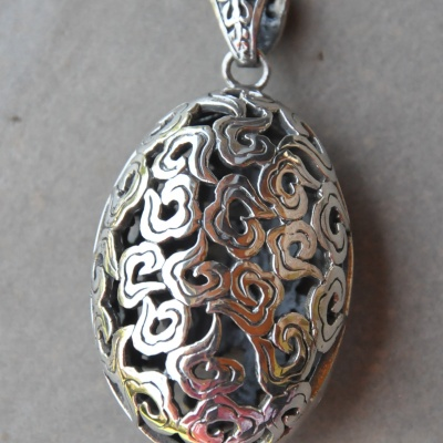 Silver large oval faberge egg pendant