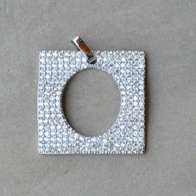 Sterling silver and CZ square pendant