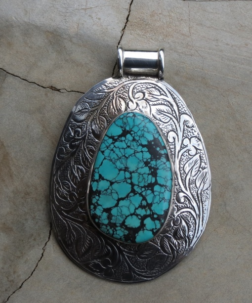 Large Turquoise And Silver Pendant
