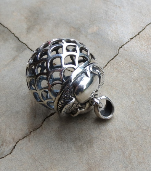 Silver Large Ornate Ball Pendant