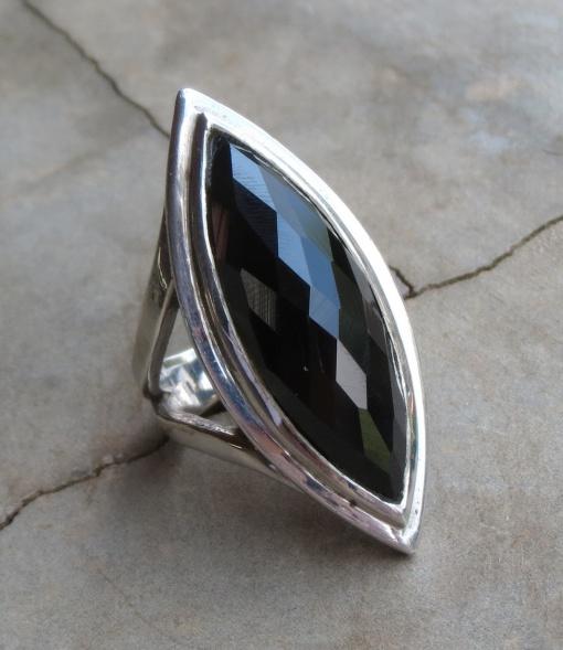 Elliptical Faceted Black Onyx Ring