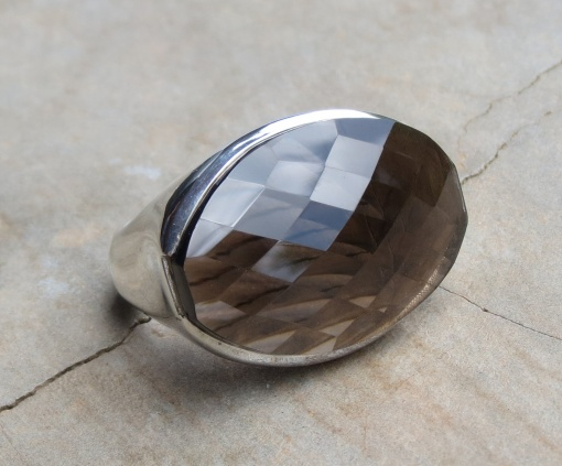 Oval Faceted Smoky Quartz Ring