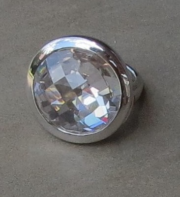 Round Faceted Cubic Zirconia Ring