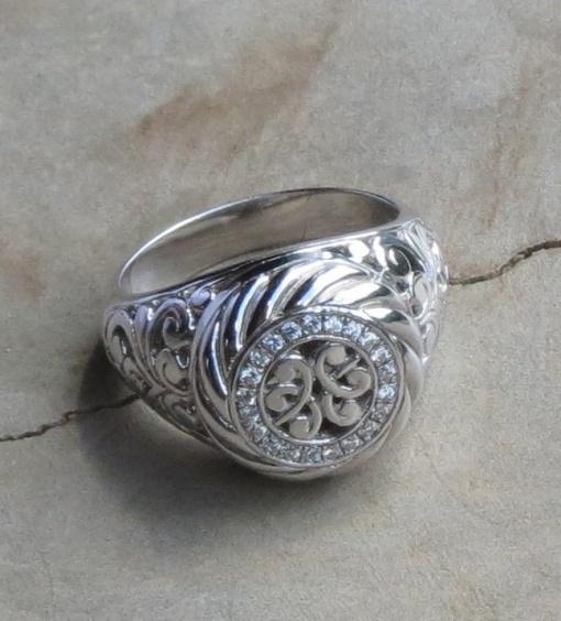 Round Ornate Cubic Zirconia Ring