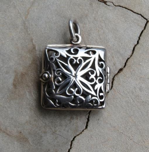 Silver Square Detailed Locket Pendant