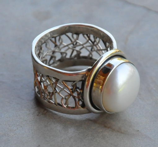 Wide Detailed Band with Pearl Ring